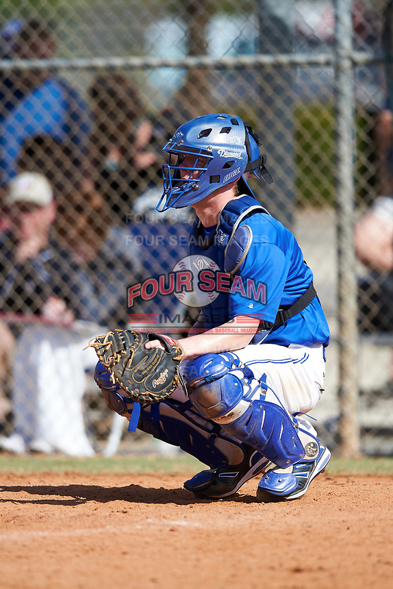 Illinois College Blueboys catcher Kevin Bonnett (14) during a game against the Edgewood Eagles on March 14, 2017 at Terry Park in Fort Myers, Florida.  Edgewood defeated Illinois College 11-2.  (Mike Janes/Four Seam Images)
