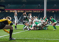 Emma Croker scores a try, England Women v Ireland Women in a 6 Nations match at Twickenham Stadium, Whitton Road, Twickenham, England, on 27th February 2016