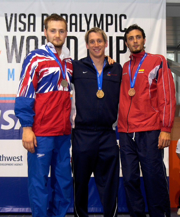 Photo: Richard Lane Photography..VISA Paralympic World Cup 2007. Swimming. 12/05/2007...Mens S9 100m Backstroke, (L-R)  James Crisp of Great Britain, Jarrett Perry of the USA and Jesus Collado of Spain.