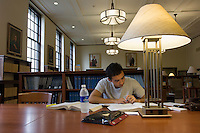 Michael Fox, '11<br /> Ahmanson Reading Room. Photo from Occidental College's Mary Norton Clapp Library, September 9, 2008, Los Angeles, Calif. (Photo by Marc Campos, College Photographer)