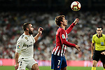 Real Madrid's Dani Carvajal and Atletico de Madrid's Antoine Griezmann during La Liga match between Real Madrid and Atletico de Madrid at Santiago Bernabeu Stadium in Madrid, Spain. September 29, 2018. (ALTERPHOTOS/A. Perez Meca)