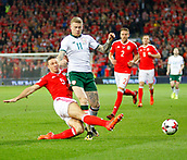 9th October 2017, Cardiff City Stadium, Cardiff, Wales; FIFA World Cup Qualification, Wales versus Republic of Ireland James Chester (Wales) slides in to stop James McClean (Republic of Ireland)
