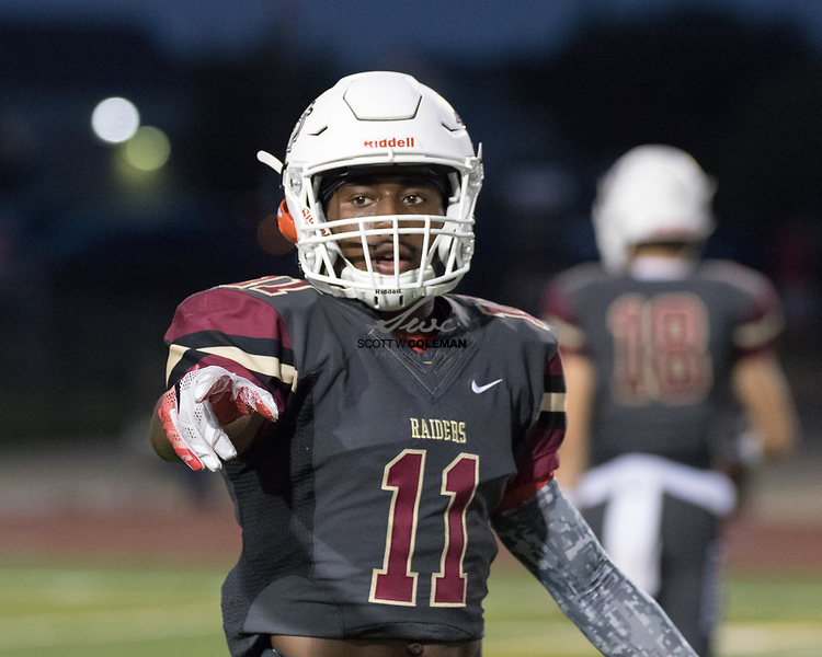 Rouse Raiders senior wide receiver Isaiah Poston (11) during a high school football game between the Rouse Raiders and the East View Patriots at A.C. Bible Stadium in Leander, Texas, on Friday, September 15, 2017.