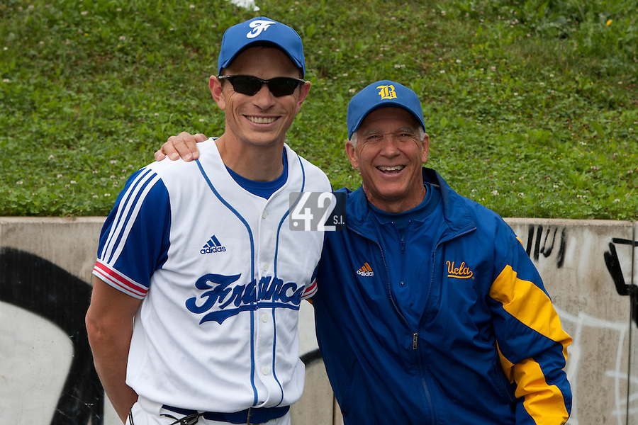 21 June 2011: Team France manager Fabien Proust poses next to UCLA Team Manager during UCLA Alumni 5-3 win over France, at the 2011 Prague Baseball Week, in Prague, Czech Republic.