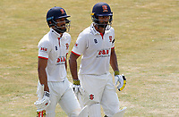 Varun Chopra (right) and Feroze Kushi  (left) of Essex leave the field at lunch during Essex CCC vs Surrey CCC, Bob Willis Trophy Cricket at The Cloudfm County Ground on 10th August 2020