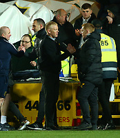 4th March 2020; Almondvale Stadium, Livingston, West Lothian, Scotland; Scottish Premiership Football, Livingston versus Celtic; Livingston manager Gary Holt shakes hands with Celtic Manager Neil Lennon after the match