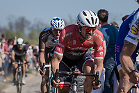 John Degenkolb (DEU/Trek-Segafredo) at the infamous Carrefour de l'Arbre sector<br /> <br /> 115th Paris-Roubaix 2017 (1.UWT)<br /> One Day Race: Compiègne › Roubaix (257km)