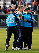 CB40 Cricket - Durham Dynamos V Scottish Saltires at Chester-le-Street - Saltires players join bowler Richie Berrington (centre) to celebrate one of his 2 wickets - Picture by Donald MacLeod - mobile 07702 319 738 - clanmacleod@btinternet.com - words if required from William Dick 077707 839 23