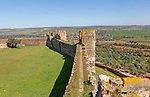 Defensive walls and the ramparts with view over surrounding countryside from the Castle of Terena, a listed national monument, Alentejo Central, Portugal, Southern Europe