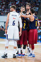 "Real Madrid's player Andres ""El Chapu"" Nocioni and FC Barcelona Lassa's players Victor Claver, Tyrese Rice, Ante Tomic and Pau Ribas during the match of the semifinals of Supercopa of La Liga Endesa Madrid. September 23, Spain. 2016. (ALTERPHOTOS/BorjaB.Hojas)"