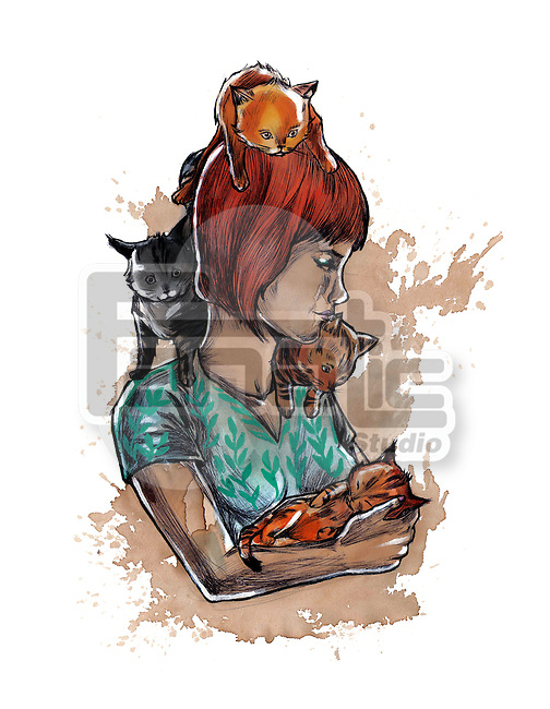 Illustration of loving woman with cats over white background