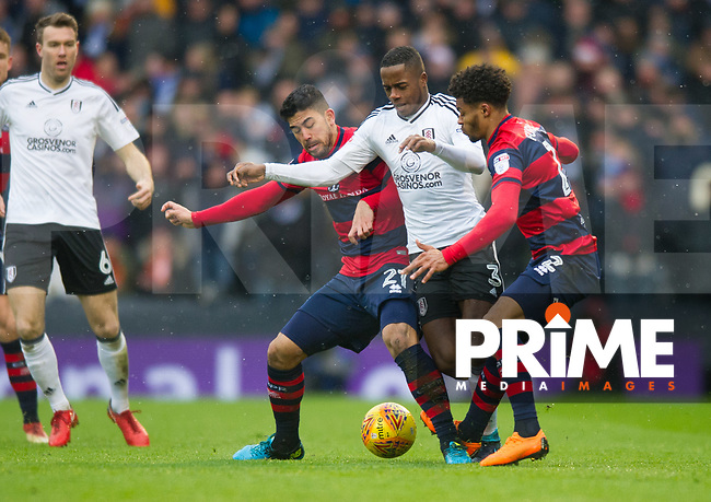 Fulham's Ryan Sessegnon and QPR Massimo Luongo during the Sky Bet Championship match between Fulham and Queens Park Rangers at Craven Cottage, London, England on 17 March 2018. Photo by Andrew Aleksiejczuk / PRiME Media Images.