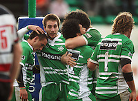 Manawatu players celebrate Tevita Taufui's (centre) match-winning try during the Air NZ Cup rugby match between Manawatu Turbos and Counties-Manukau Steelers at FMG Stadium, Palmerston North, New Zealand on Sunday, 2 August 2009. Photo: Dave Lintott / lintottphoto.co.nz