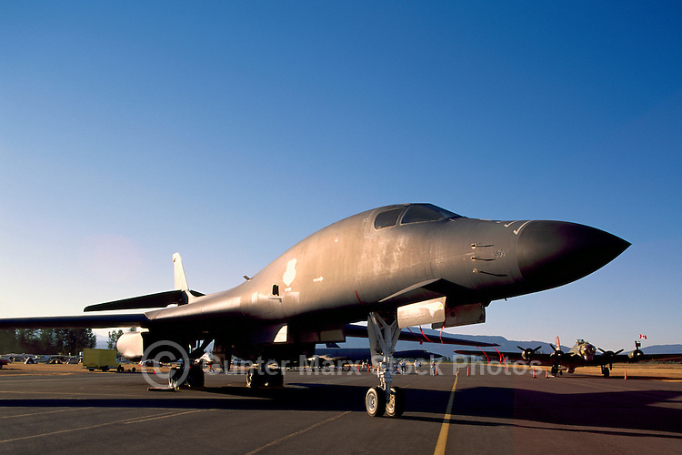 "US Air Force Rockwell (Boeing) B-1B Lancer Bomber (aka the ""Bone"") Military Aircraft on Static Display - at Abbotsford International Airshow, BC, British Columbia, Canada"