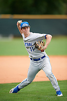 Central Connecticut State Blue Devils infielder Matt Bertochi (11) during warmups before a game against the North Dakota State Bison on February 23, 2018 at North Charlotte Regional Park in Port Charlotte, Florida.  North Dakota State defeated Connecticut State 2-0.  (Mike Janes/Four Seam Images)
