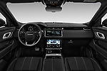 Stock photo of straight dashboard view of a 2018 Land Rover Range Rover Velar Dynamic SE 5 Door SUV