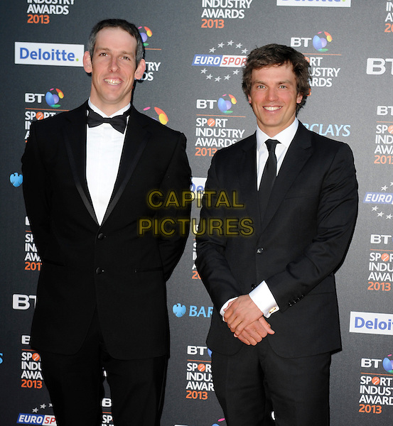 Etienne Stott and Tim Baillie.Attending the BT Sport Industry Awards at Battersea Evolution, London, England, UK, May 2nd 2013..half length black suit tie waistcoat tuxedo tux bow .CAP/PP/GM.©Gary Mitchell/PP/Capital Pictures