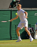 England, London, Juli 06, 2015, Tennis, Wimbledon, David Goffin (BEL) in action against Stan Wawrinka (SUI)  <br /> Photo: Tennisimages/Henk Koster
