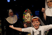 "NEW YORK - SEP 10: Members of the cast of ""The Divine Sister,"" a play written by and starring Charles Busch, perform a dress rehearsal at the Soho Playhouse on Friday, September 10, 2010 in New York City. (Photo by Landon Nordeman)"