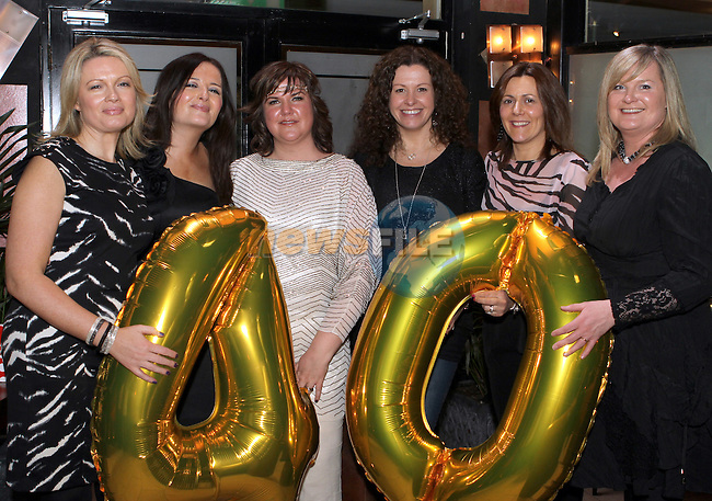 Claire Kennedy with her friends Rosie Osbourne, Lorna Kennedy, Carol Mulligan, Rhona Kane and Sinead Donovan celebrating her 40th in the Black Bull...(Photo Jenny Matthews/www.newsfile.ie)