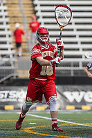 Towson, MD - March 25, 2017: Denver Pioneers Alex Ready (16) clears the ball during game between Towson and Denver at  Minnegan Field at Johnny Unitas Stadium  in Towson, MD. March 25, 2017.  (Photo by Elliott Brown/Media Images International)