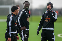 Wednesday  06 January 2016<br /> Pictured L-: Jefferson Montero, Bafetimbi Gomis and Jordi Amat of Swansea with Jordi Amat of Swansea <br /> Re: Swansea City Training session at the Fairwood training ground, Swansea, Wales, UK