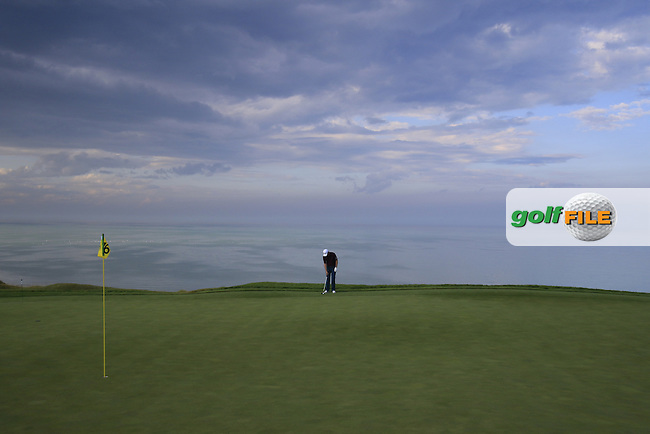 Justin Rose (ENG) on16th hole during Monday's Practice Day of the 97th US PGA Championship 2015 held at Whistling Straits, Mosel, Kohler, Wisconsin, United States of America. 10/08/2015.<br /> Picture Eoin Clarke, www.golffile.ie