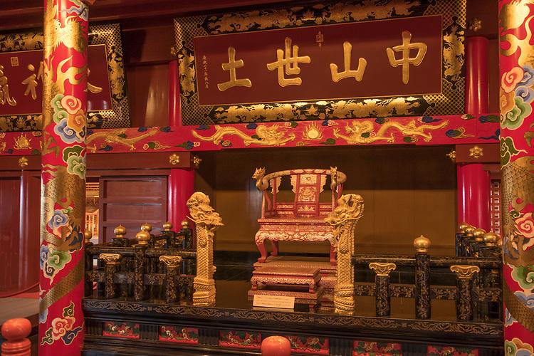 The throne of the Ryukyu king inside the Seiden- Shuri Castle, Okinawa.