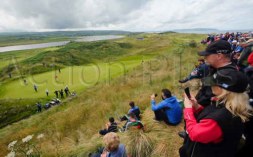 July 7th 2017, Portstewart Golf Club, Portstewart, Northern Ireland; Dubai Duty Free Irish Open Golf Championship, Day 2; Fans watch Padraig Harrington (IRL) on the green during the second round of the Dubai Duty Free Irish Open