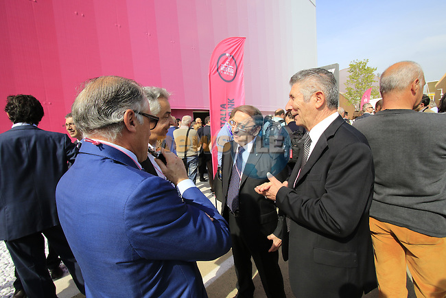 Pietro Santini and Ernesto Colnago at the Giro d'Italia 2016 Presentation held at Expo Milano, Milan, Italy. 5th October 2015.<br /> Picture: Eoin Clarke | Newsfile