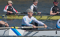 Mortlake/Chiswick, GREATER LONDON. United Kingdom. &quot;Concetration&quot;, &quot;Kick it up&quot;<br /> Broxbourne Rowing Club<br /> MasE.8+, competing at the 2017 Vesta Veterans Head of the River Race, The Championship Course, Putney to Mortlake on the River Thames.<br /> <br /> <br /> Sunday  26/03/2017<br /> <br /> [Mandatory Credit; Peter SPURRIER/Intersport Images]