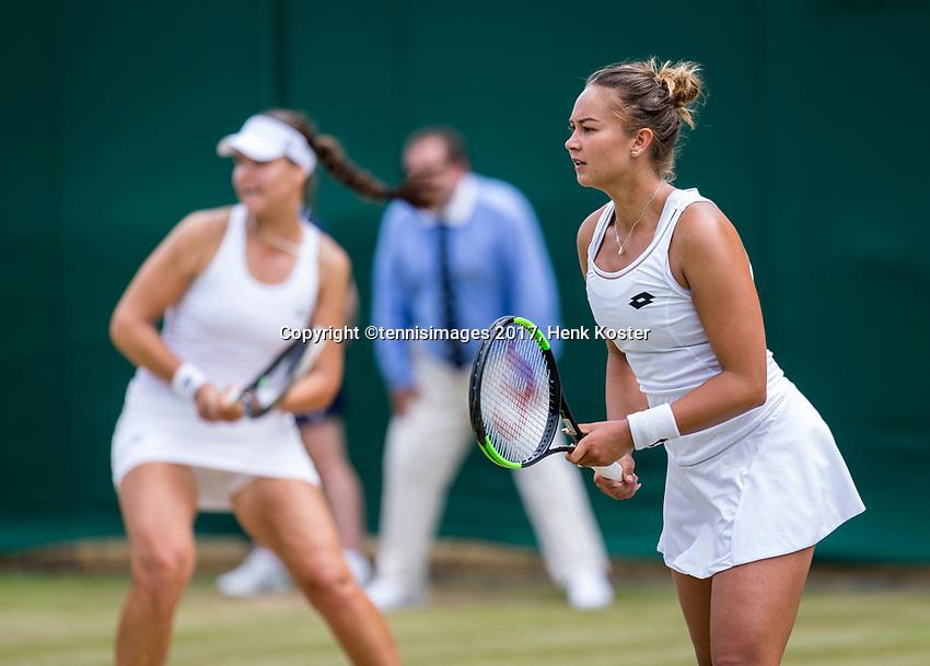 London, England, 8 th July, 2017, Tennis,  Wimbledon, Womans doubles: Lesley Kerhove (NED) (R) / Lidziya Marozava (BLR)<br /> Photo: Henk Koster/tennisimages.com