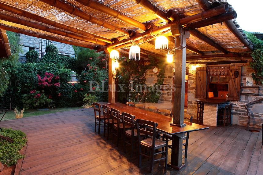 yard wth wooden furniture