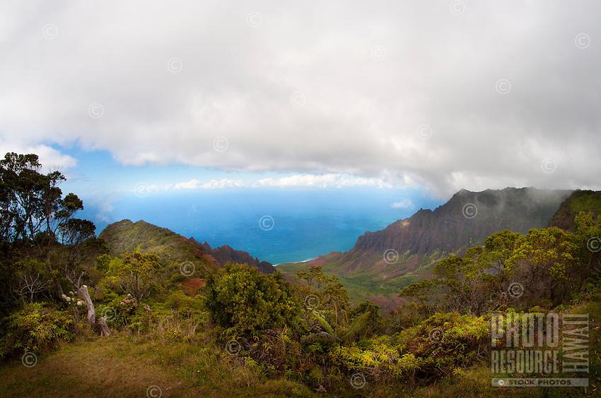 Kalalau Valley amid the towering cliffs of Na Pali, Kauai.