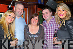 Pictured at Scruffys bar Killarney on New Year's Eve were l-r: Maeve Shanahan (Tipperary) John Ryan (Tipperary) Cathy Gallaghue (Ballincollig, Cork) Mick Heffernan (Listowel) and Liz Gleeson (Cork).