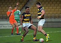 Daniel Waite (right) celebrates his try with Seta Tamanivalu during the Ranfurly Shield Mitre 10 Cup rugby match between Taranaki and Manawatu at Yarrow Stadium in New Plymouth, New Zealand on Friday, 24 August 2018. Photo: Dave Lintott / lintottphoto.co.nz