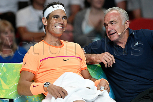 09.01.2017 Sydney, Australia. Rafael Nadal of Spain and Wally Masur chat during the FAST4 tennis at the ICC Sydney Theatre, Darling Harbour. Kyrgios won 3 sets to 1.