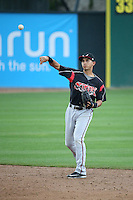 Javier Guerra (12) of the Lake Elsinore Storm throws during a game against the Rancho Cucamonga Quakes at LoanMart Field on April 10, 2016 in Rancho Cucamonga, California. Lake Elsinore defeated Rancho Cucamonga, 7-6. (Larry Goren/Four Seam Images)
