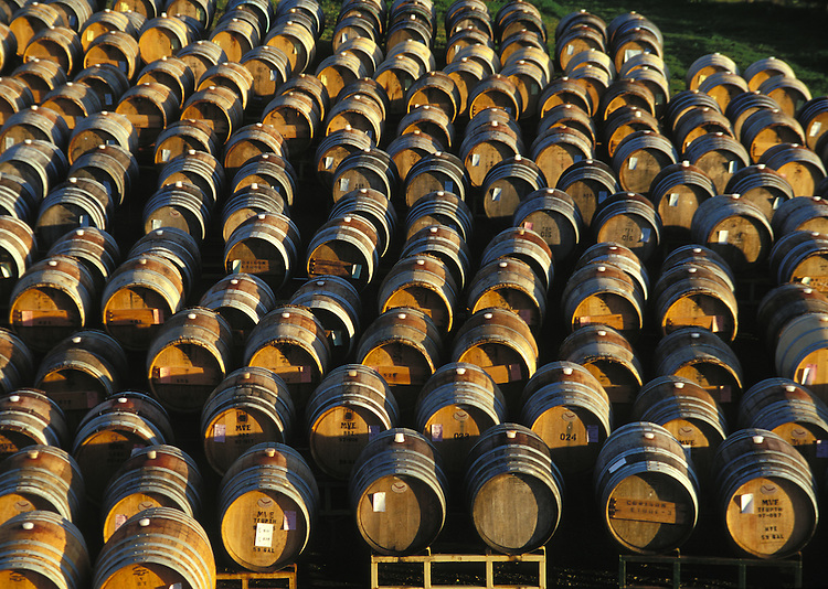 Close up of wine barrels on the Mendocino Coast of Northern California