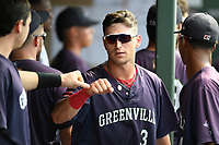 Designated hitter Jordan Wren (3) of the Greenville Drive is greeted in the dugout after scoring a run in a game against the Delmarva Shorebirds on Friday, August 2, 2019, in the continuation of rain-shortened game begun August 1, at Fluor Field at the West End in Greenville, South Carolina. Delmarva won, 8-5. (Tom Priddy/Four Seam Images)