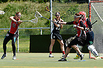 GER - Hannover, Germany, May 30: During the Women Lacrosse Playoffs 2015 match between DHC Hannover (black) and SC Frankfurt 1880 (red) on May 30, 2015 at Deutscher Hockey-Club Hannover e.V. in Hannover, Germany. Final score 23:3. (Photo by Dirk Markgraf / www.265-images.com) *** Local caption ***Jaana Mattwig #9 of SC 1880 Frankfurt, Sarah Broehl #4 of SC 1880 Frankfurt