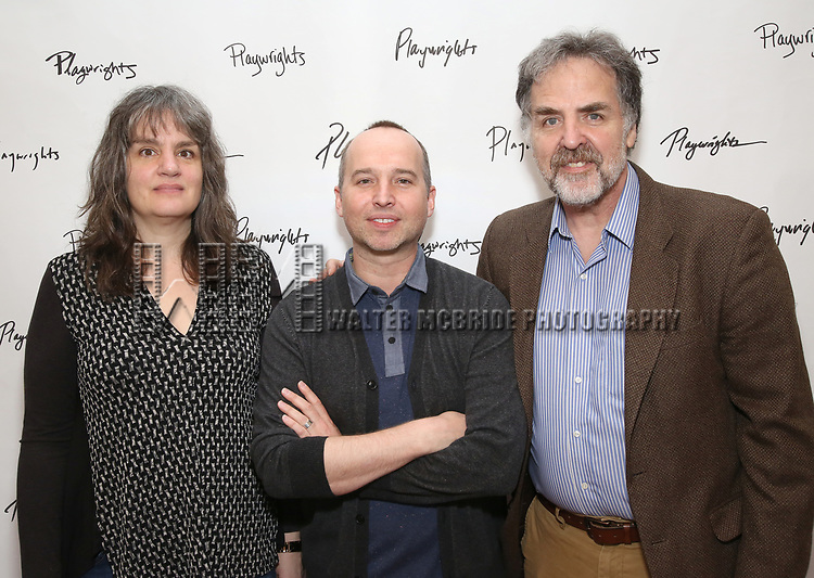 Pam MacKinnon, Jordan Harrison and Tim Sanford attends the photo call for Playwrights Horizons world premiere production of 'Log Cabin' on May 8, 2018 at Playwrights Horizons rehearsal hall in New York City.