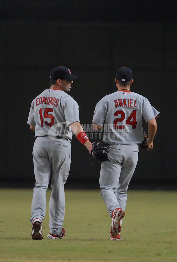 Sept 7, 2007; Phoenix, AZ, USA; St. Louis Cardinals center fielder (15) Jim Edmonds anf right fielder (24) Rick Ankiel against the Arizona Diamondbacks at Chase Field. Mandatory Credit: Mark J. Rebilas-US PRESSWIRE