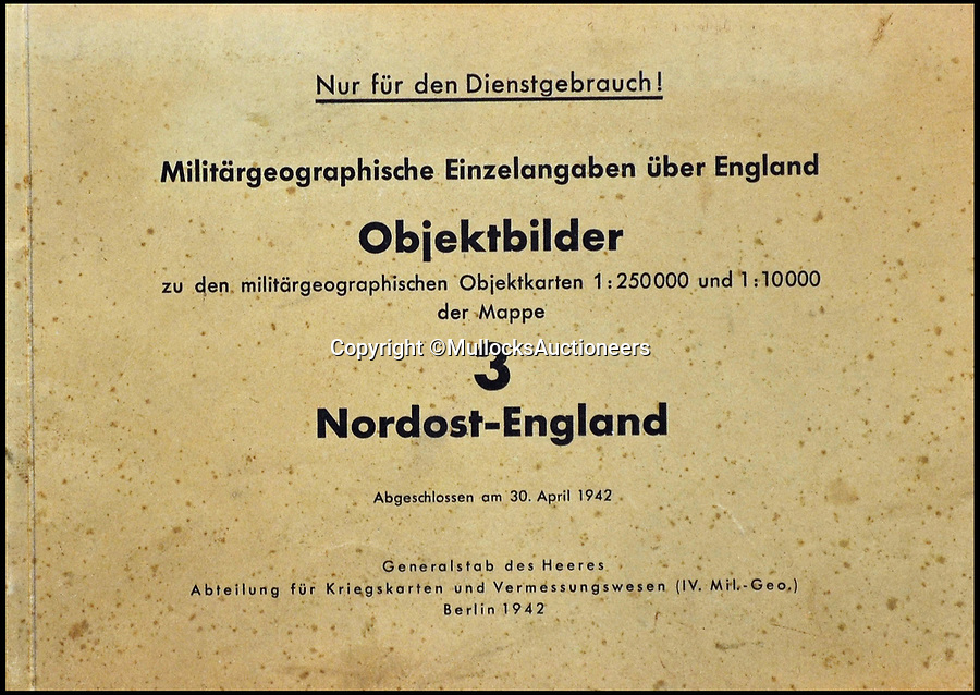 BNPS.co.uk (01202 558833)Pic: MullocksAuctioneers/BNPS<br /> <br /> For official use only!<br /> <br /> A fascinating collection of maps from Operation Sea Lion have been unearthed which reveal the Nazis had north east England firmly in their sights.<br /> <br /> A map of Middlesborough dated April 30, 1942, has specific targets highlighted in red including the railway station, bridges and industrial depots.<br /> <br /> The Nazis did strike it lucky with one of their targets a few months later when a lone Dornier Do 217 dropped a stick of bombs onto the railway station on August 2, causing serious damage to the Victorian glass and steel roof.<br /> <br /> Middlesbrough, on the Teeside, was the first major British town to be bombed during the Second World War mainly because of its iron and steel industries.