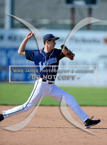 Eastridge Lancers Nathan Porter during a varsity baseball game against the Batavia Blue Devils at Dwyer Stadium on April 26, 2013 in Batavia, New York.  (Copyright Mike Janes Photography)