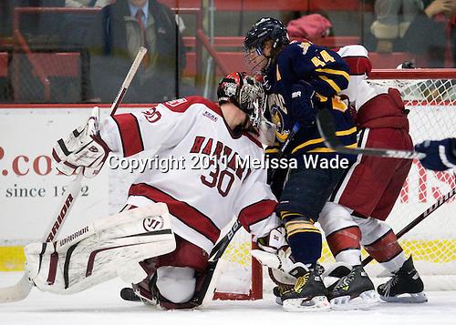 Raphael Girard (Harvard - 30), Spencer Heichman (Quinnipiac - 44) - The Harvard University Crimson and Quinnipiac University Bobcats played to a 2-2 tie on Saturday, November 5, 2011, at Bright Hockey Center in Cambridge, Massachusetts.