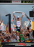 KAILUA-KONA, HI - OCTOBER 12: Frederik Van Lierde of Belgium celebrates after coming into first place during the 2013 Ironman World Championship on October 12, 2013 in Kailua-Kona, Hawaii. (Photo by Donald Miralle) *** Local Caption ***