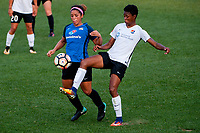 Kansas City, MO - Sunday September 3, 2017: Desiree Scott, Maya Hayes during a regular season National Women's Soccer League (NWSL) match between FC Kansas City and Sky Blue FC at Children's Mercy Victory Field.