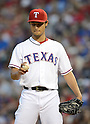 Yu Darvish (Rangers),.APRIL 30, 2013 - MLB :.Pitcher Yu Darvish of the Texas Rangers looks at the ball during the baseball game against the Chicago White Sox at Rangers Ballpark in Arlington in Arlington, Texas, United States. (Photo by AFLO)