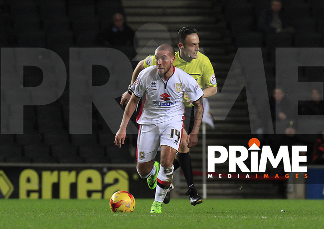 Samir Carruthers of MK Dons during the Sky Bet Championship match between MK Dons and Sheff Wednesday at stadium:mk, Milton Keynes, England on 15 December 2015. Photo by Liam Smith.